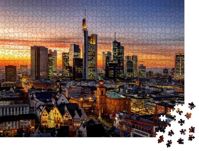 """Puzzle 1000 Teile """"Frankfurt am Main bei Nacht, Deutschland"""""""