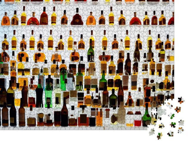 """Puzzle 1000 Teile """"Verschiedene Alkoholflaschen in einer Bar, Gegenlicht, alle Logos entfernt"""""""