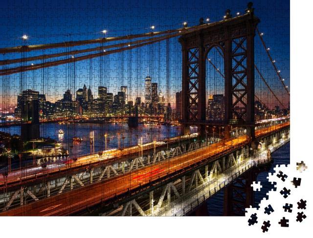 """Puzzle 1000 Teile """"Sonnenuntergang über Manhattan mit Brooklyn Bridge, USA"""""""