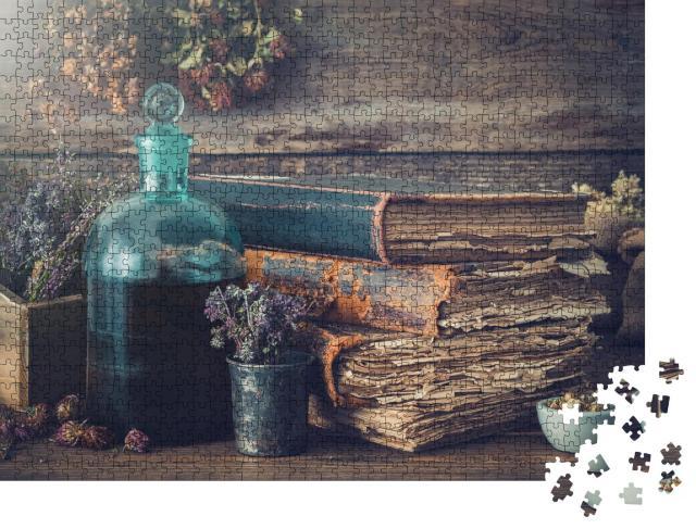 """Puzzle 1000 Teile """"Kräuterwissen in uralten Büchern"""""""