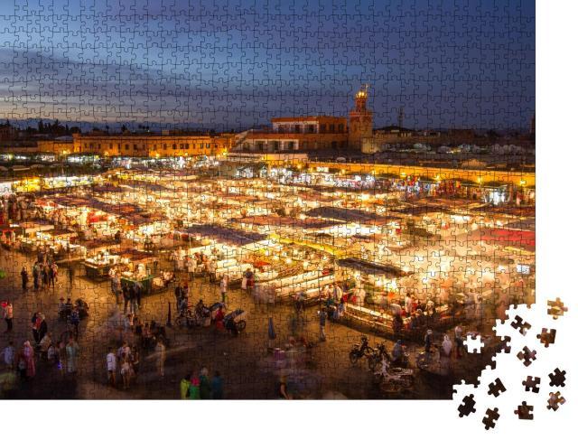 """Puzzle 1000 Teile """"Jamaa el Fna-Marktplatz in der Abenddämmerung, Marrakesch, Marokko"""""""