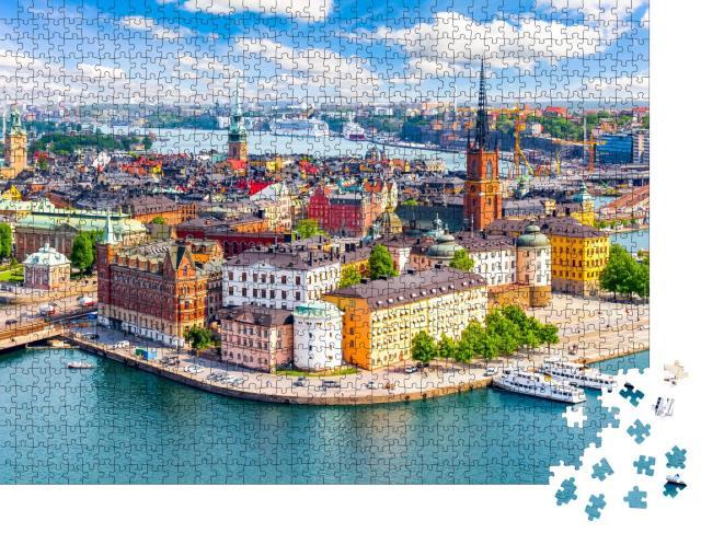 """Puzzle 1000 Teile """"Blick auf die Altstadt von Stockholm, Schweden"""""""
