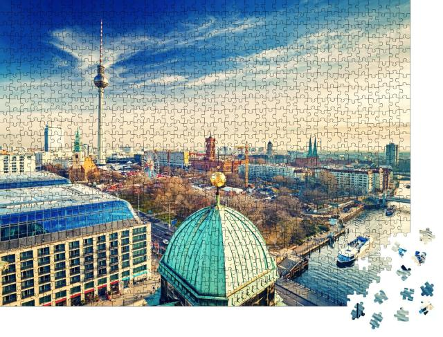 """Puzzle 1000 Teile """"Luftaufnahme auf Alexanderplatz und Spree, Berlin, Deutschland"""""""