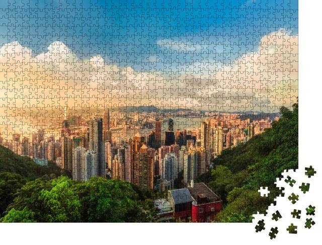 """Puzzle 1000 Teile """"Schöner Sonnenuntergang über der Victoria-Bucht in Hongkong"""""""