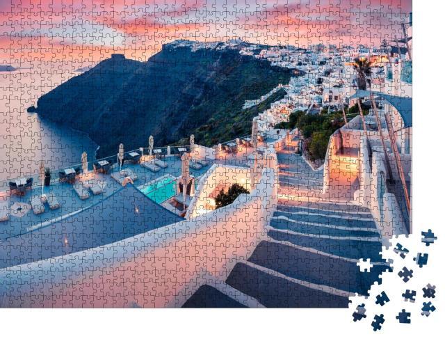 """Puzzle 1000 Teile """"Abendansicht der Insel Santorin, Frühjahr in Griechenland"""""""