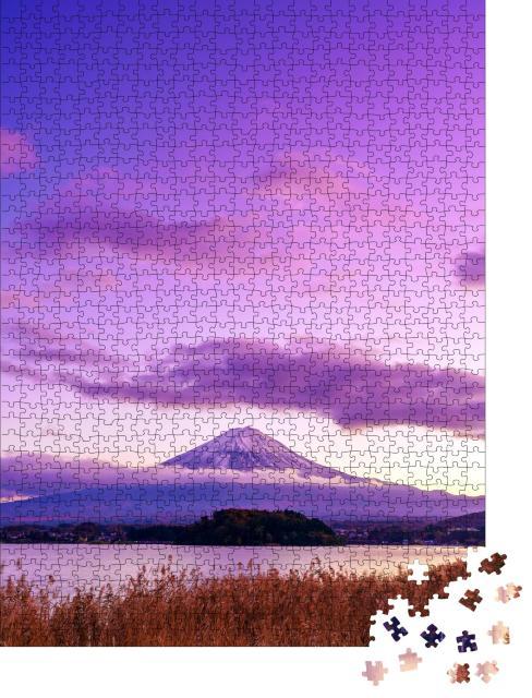 """Puzzle 1000 Teile """"Mystischer Berg Fuji, Blick vom See Kawaguchi, Japan"""""""