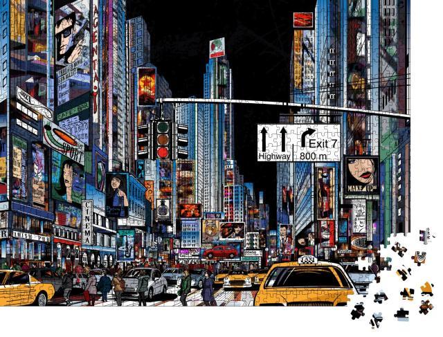 """Puzzle 1000 Teile """"Vektor-Illustration einer Straße in New York City bei Nacht"""""""