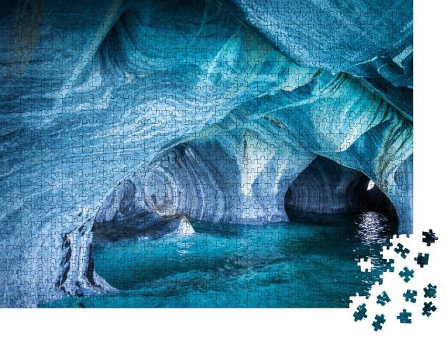 """Puzzle 1000 Teile """"Die Marmorhöhlen im General Carrera See, Patagonien"""""""