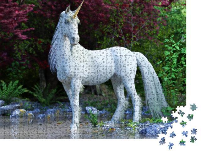 """Puzzle 1000 Teile """"Mythisches weiße Einhorn"""""""