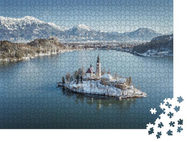 """Puzzle 1000 Teile """"Insel Bled im malerischen See, Slowenien"""""""