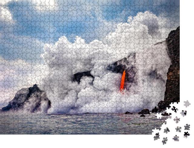 """Puzzle 1000 Teile """"Großaufnahme des Kamokuna im Vulkan-Nationalpark von Hawaii"""""""
