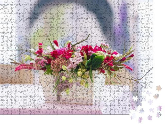 """Puzzle 1000 Teile """"Großaufnahme: Blumen und Vase"""""""