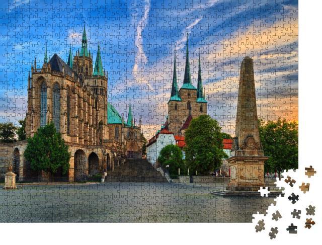 """Puzzle 1000 Teile """"Dom von Erfurt, Thürigen, Deutschland"""""""