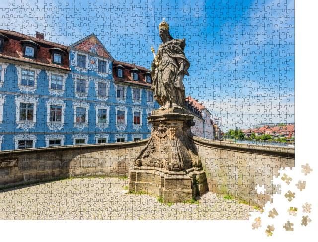 """Puzzle 1000 Teile """"Statue der Hl. Kunigunde an der Regnitz, Bamberg, Deutschland"""""""