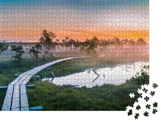 """Puzzle 1000 Teile """"Sonnenaufgang über einem nebligen Sumpf, Kemeri Nationalpark, Lettland"""""""