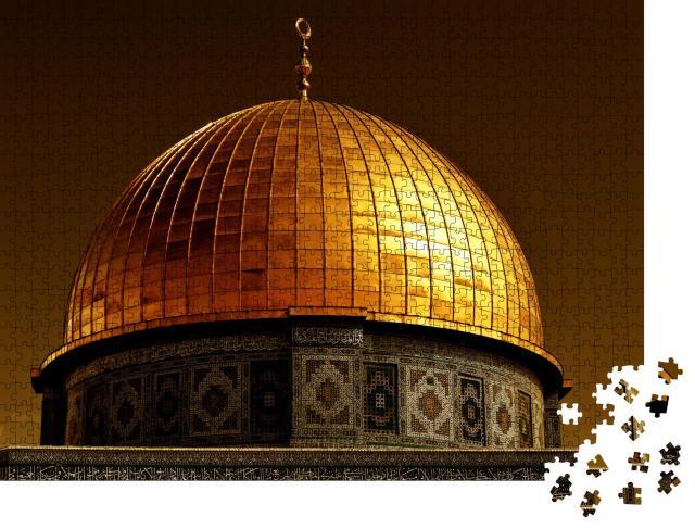 """Puzzle 1000 Teile """"Mit 80 Kilogramm Gold bedeckt Kuppel des Felsendoms in Jerusalem, Israel"""""""
