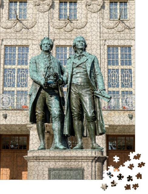 """Puzzle 1000 Teile """"Denkmal für Goethe und Schiller vor dem Nationaltheater in Weimar"""""""