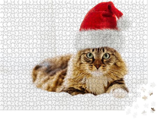 """Puzzle 1000 Teile """"Weihnachtskatze mit Weihnachtsmütze"""""""