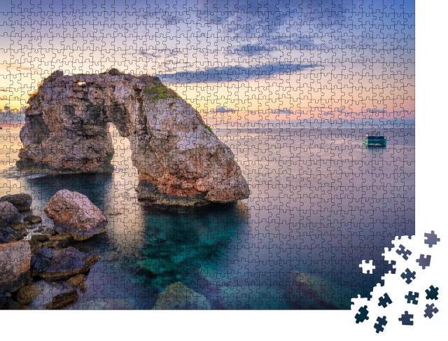 """Puzzle 1000 Teile """"Es Pontas auf Mallorca mit Boot"""""""