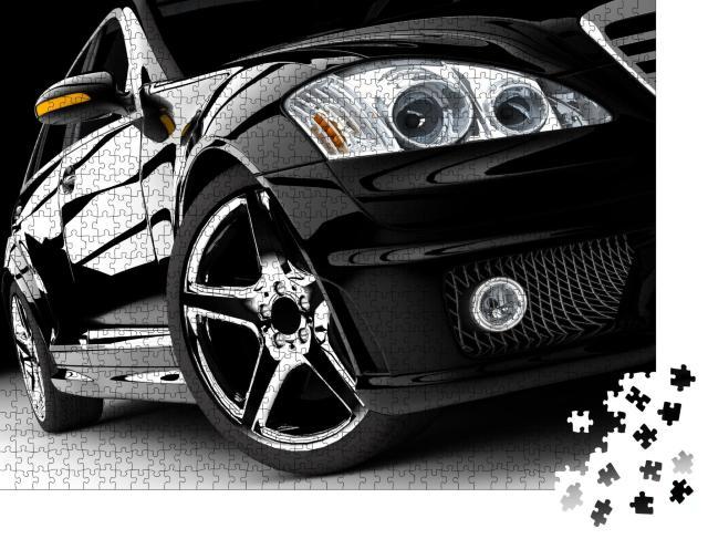 """Puzzle 1000 Teile """"Ein modernes und elegantes schwarzes Auto"""""""