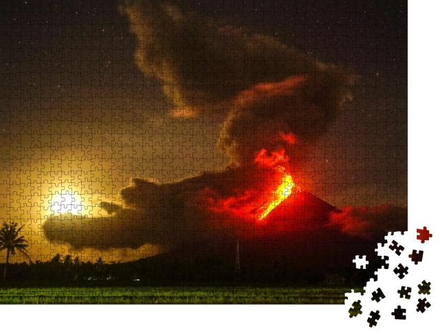 """Puzzle 1000 Teile """"Ausbruch des Mayon-Vulkans auf den Phlilippinen"""""""