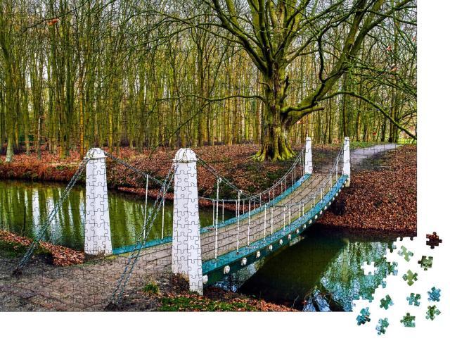 """Puzzle 1000 Teile """"Flussbrücke im Herbstpark"""""""