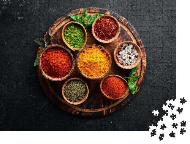 """Puzzle 1000 Teile """"Bunte Kräuter und Gewürze zum Kochen aus der indischen Küche"""""""