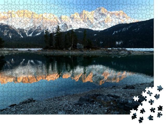 """Puzzle 1000 Teile """"Alpen bei Sonnenuntergang: Eibsee, Grainau, Bayern"""""""