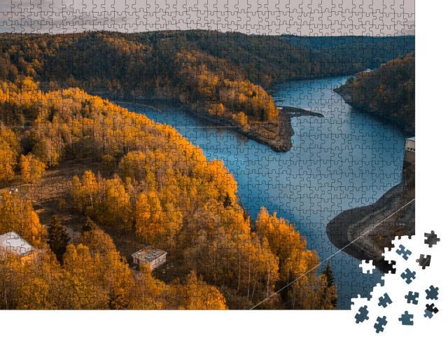 """Puzzle 1000 Teile """"Rappbodetalsperre und Rappbode-Fluss im Nationalpark Harz, Deutschland"""""""