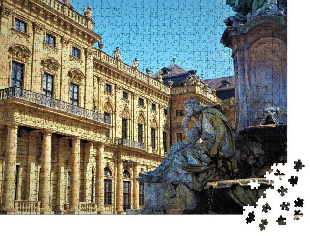 """Puzzle 1000 Teile """"Eindrucksvolle Altstadt in Würzburg, Bayern, Deutschland"""""""