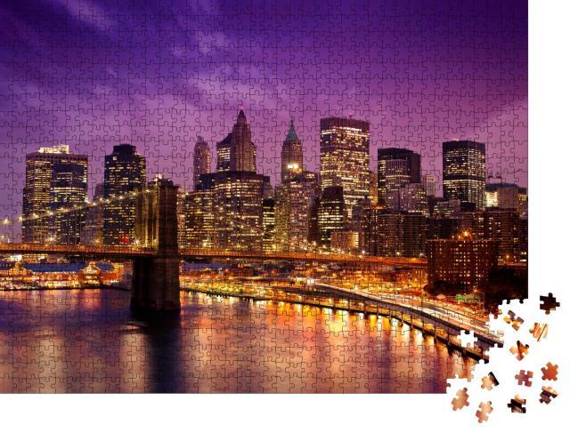 """Puzzle 1000 Teile """"Abendliche Skyline von New York"""""""