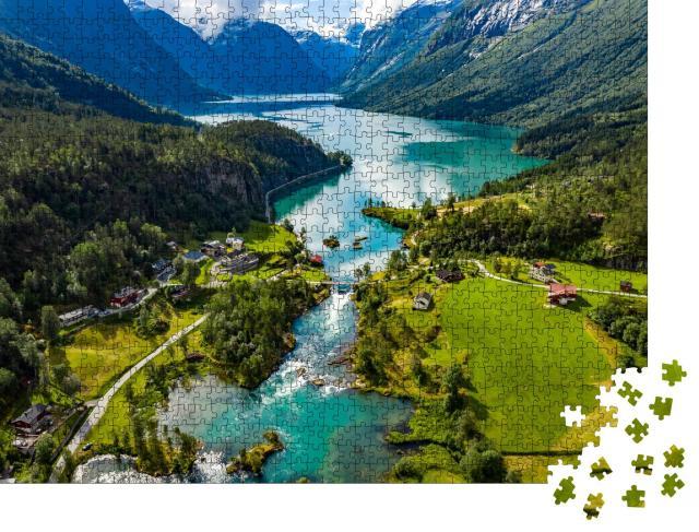 """Puzzle 1000 Teile """"Wunderschöne Natur in Norwegen: Der Lovatnet See im Lodal Tal"""""""