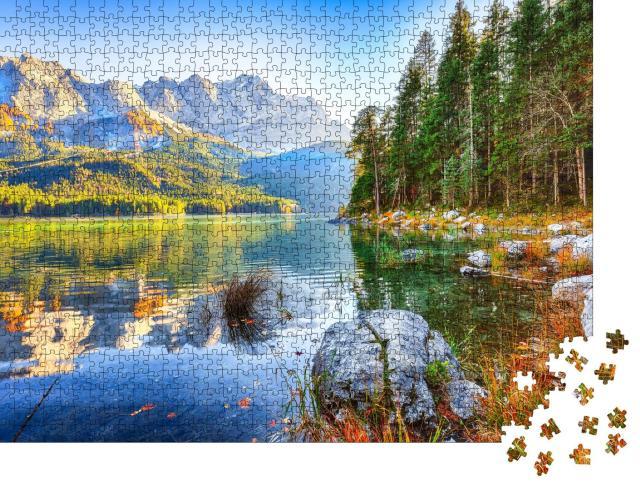 """Puzzle 1000 Teile """"Eibsee vor dem Gipfel der Zugspitze im Herbstlist, Bayern, Deutschland"""""""