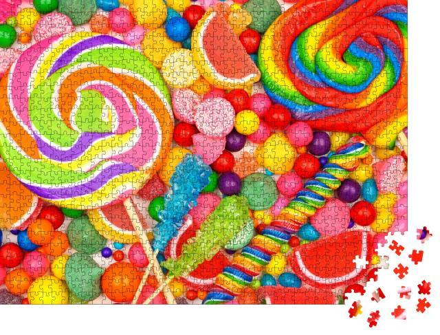 """Puzzle 1000 Teile """"Verschiedene Süßigkeiten, darunter Lutscher, Kaugummikugeln und Geleebonbons"""""""