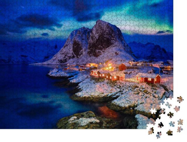 """Puzzle 1000 Teile """"Hamnoy Fischerdorf auf den Lofoten, Norwegen"""""""