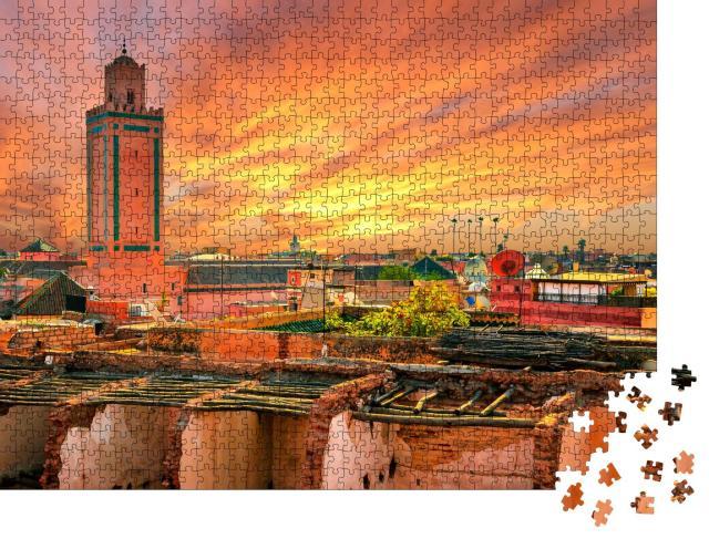 """Puzzle 1000 Teile """"Sonnenuntergang über Marrakesch, Marokko"""""""