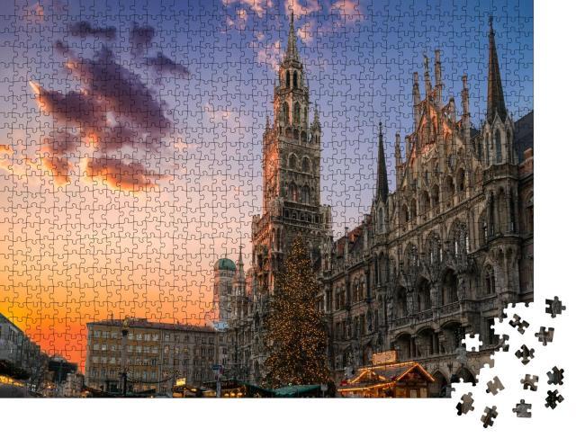"""Puzzle 1000 Teile """"Weihnachtsmarkt und Baum auf dem Marienplatz, München"""""""