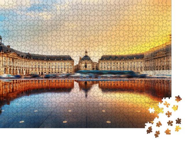 """Puzzle 1000 Teile """"Beeindruckender Place de la Bourse, Bordeaux, Frankreich"""""""