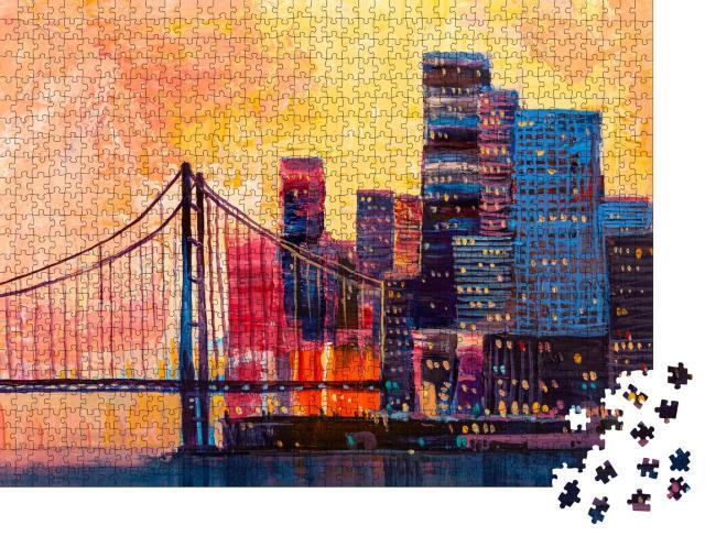 """Puzzle 1000 Teile """"Abstraktes Ölgemälde: Panorama der Stadt"""""""