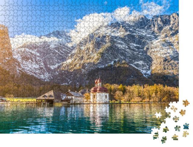 """Puzzle 1000 Teile """"Malerische Berglandschaft am Königssee in Bayern, Deutschland"""""""
