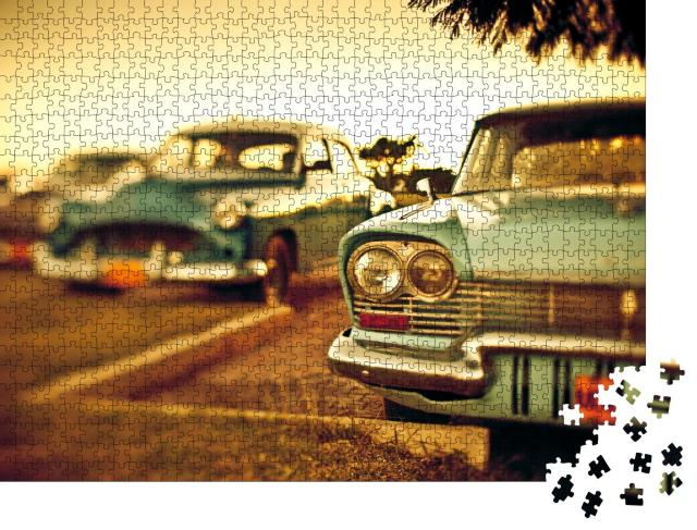 "Puzzle 1000 Teile ""Oldtimer in Kuba, Aufnahme mit Tilt-Shift"""