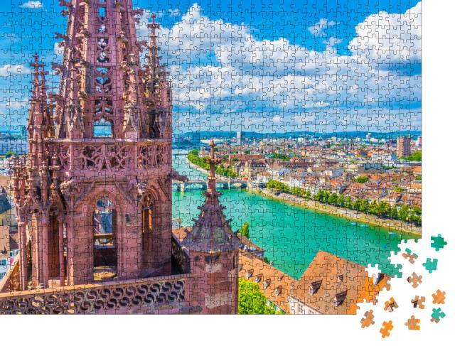 """Puzzle 1000 Teile """"Wunderschöner Blick von der Münsterkirche über Basel, Schweiz"""""""