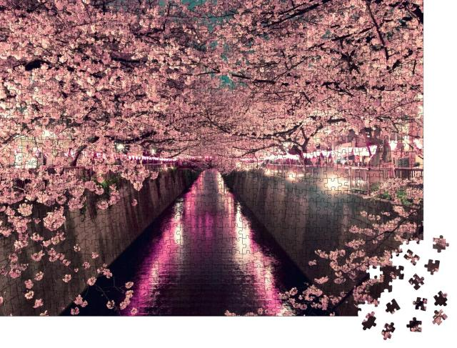 """Puzzle 1000 Teile """"Kirschblüten bei Nacht in Tokio"""""""