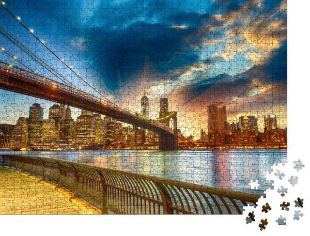 """Puzzle 1000 Teile """"Sonnenuntergang über Manhattan, New York City, USA"""""""
