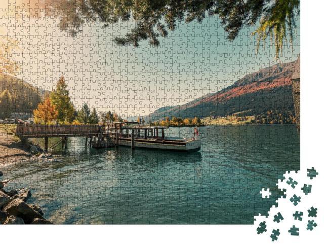 """Puzzle 1000 Teile """"Kirche von Curon Venosta ragt aus dem Wasser des Reschensees, Vinschgau"""""""