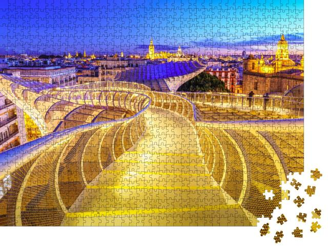 """Puzzle 1000 Teile """"Space Metropol Parasol über den Dächern von Sevilla, Spanien"""""""