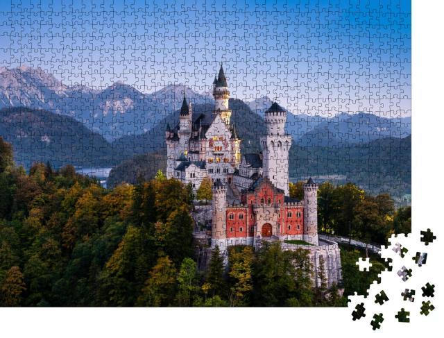 """Puzzle 1000 Teile """"Schloss Neuschwanstein kurz vor Sonnenaufgang"""""""