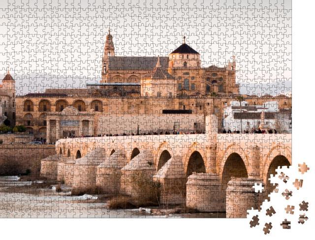 """Puzzle 1000 Teile """"Mezquia und römische Brücke in Córdoba, Spanien"""""""