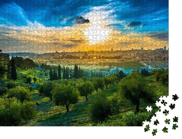 """Puzzle 1000 Teile """"Stimmungsvoller Sonnenuntergang über Altstadt und Ölberg von Jerusalem, Israel"""""""
