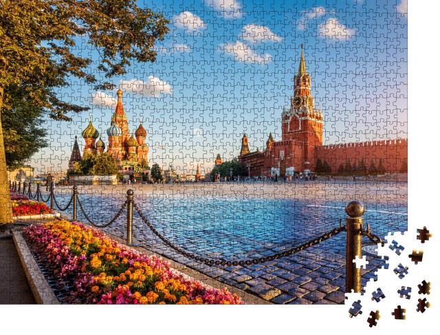 """Puzzle 1000 Teile """"Basilius-Kathedrale und Spasski-Turm auf dem Roten Platz in Moskau"""""""